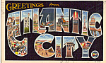 Click here to enlarge image and see more about item n1335: Big Letter  Atlantic City,New Jersey Postcard n1335
