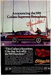 Click here to enlarge image and see more about item olds01: 1981 Cutlass Supreme Brougham Ad