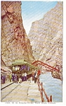 Train at Hanging Bridge Royal Gorge CO Postcard p0438