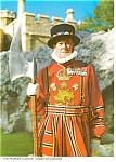 Click here to enlarge image and see more about item p0713: Beefeater Yeoman Gaoler Tower of London England  Postcard p0713