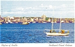Click here to enlarge image and see more about item p0940: Skyline of Seattle Northwest Orient Airlines Postcard p0940