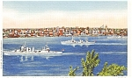 Battleships in Seattle WA Harbor Postcard p0941