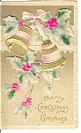 Merry Christmas Bells and Holly  Postcard Germany