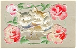 Click here to enlarge image and see more about item p10013: Kittens and Roses Flocked Postcard