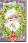 Holly Wreath and Church  Raphael Tuck Postcard p10018