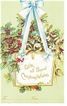 Christmas Postcard Holly Basket Undivided Back p10029