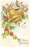 Christmas Postcard Holly and Bells Divided Back
