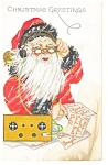 Christmas Postcard Santa With Antique Radio