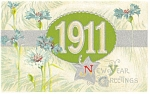 Click here to enlarge image and see more about item p10041: New Years Postcard 1911