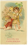 Click here to enlarge image and see more about item p10045: New Years Postcard Girl with Four Leaf Clover