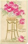Click here to enlarge image and see more about item p10047: New Years Postcard 1909 Roses p10047
