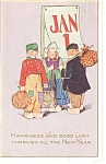 Click here to enlarge image and see more about item p10048: New Years Postcard 1919 Dutch Children