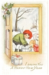 Click here to enlarge image and see more about item p10050: New Years Postcard Cherub Bring a New Year 1919 p10050