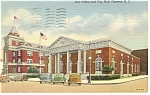 Geneva, NY, Post Office City Hall Linen Postcard