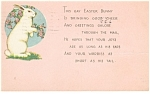 Click here to enlarge image and see more about item p10157: Easter Bunny Postcard  1931
