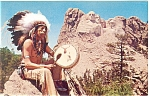 Click here to enlarge image and see more about item p10202: Mt Rushmore, SD Postcard with a Sioux Indian