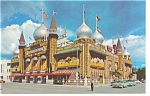 Click here to enlarge image and see more about item p10205: Mitchell, SD, Corn Palace Postcard Cars 50s