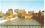 Waterloo, IA, Skyline and Cedar River Postcard