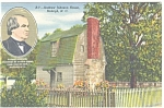 Raleigh, NC, Andrew Johnson's Home Postcard