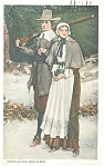 Click here to enlarge image and see more about item p10224: Priscilla and John Alden Postcard 1925