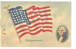 Click here to enlarge image and see more about item p10243: George Washington and The American Flag Postcard