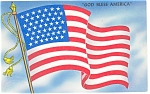 Click here to enlarge image and see more about item p10246:  The 48 Star American Flag God Bless America Postcard p10246
