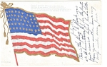 Click here to enlarge image and see more about item p10248:  The American Flag Glitter Postcard p10248 1907