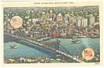 Click here to enlarge image and see more about item p10250: Detroit MI International Bridge Postcard p10250