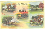 Click here to enlarge image and see more about item p10291: Greetings From Kansas Linen Postcard 1948
