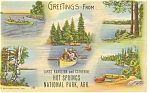 Click here to enlarge image and see more about item p10292: Hot Springs National Park, AR Linen Postcard