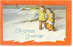 Click here to enlarge image and see more about item p10445: Christmas Card, Young Children in Snow Postcard ca 1919