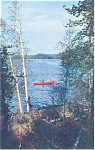 Lake Scene With   Fishing boat  Postcard