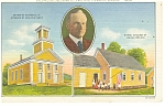 Plymouth, VT, Coolidge Church,School Postcard 1944