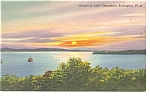 Lake Champlain,VT, Sunset Postcard
