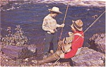 Father and Son Fishing Morrisville PA Postcard p1060