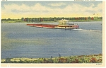 Mississippi River Scene Barge and Tugboat Postcard p10729