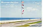Click here to enlarge image and see more about item p10761: Mississippi Gulf Coast Five Flags Postcard p10761