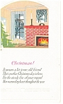 Christmas with a Fireplace scene Vintage Postcard