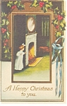 A Happy Christmas to you Fireplace Scene  Postcard