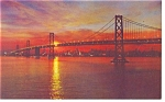 San Francisco Oakland Bay Bridge Sunset Postcard