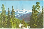 Front Range, CO, Snow Capped Peaks Postcard 1959