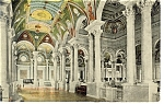 Washington DC, Library Of Congress Hall Postcard