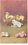 Click here to enlarge image and see more about item p11303: Chicks and Eggs Strange Postcard 1910