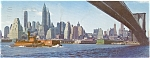 New York Harbor From Brookly Bridge Postcard