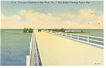 Seven MIle Bridge at Pigeon Key FL Linen Postcard p11572
