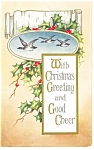 With Christmas Greeting and Good Cheer Postcard 1916