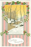 Christmas Postcard Snowy Wooded Stream 1910