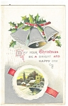 Christmas Postcard Holly and Bells 1910