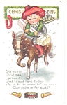 Christmas Postcard Little Child on Horse p11609