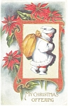 Christmas Postcard Child with Sack of Gifts 1912